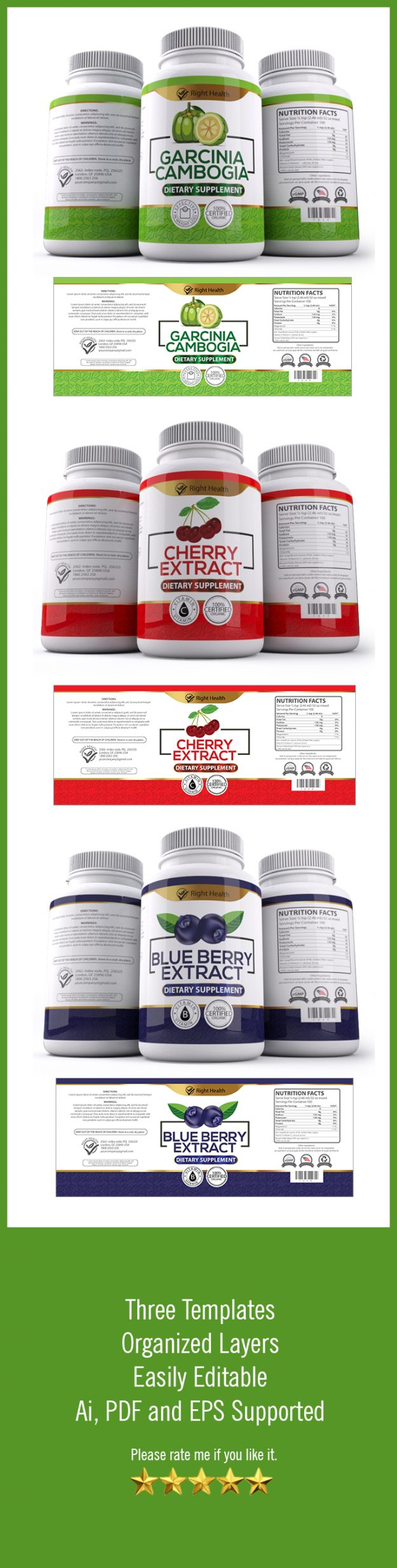 Free Health Supplement Label Template Graphic Design Resources