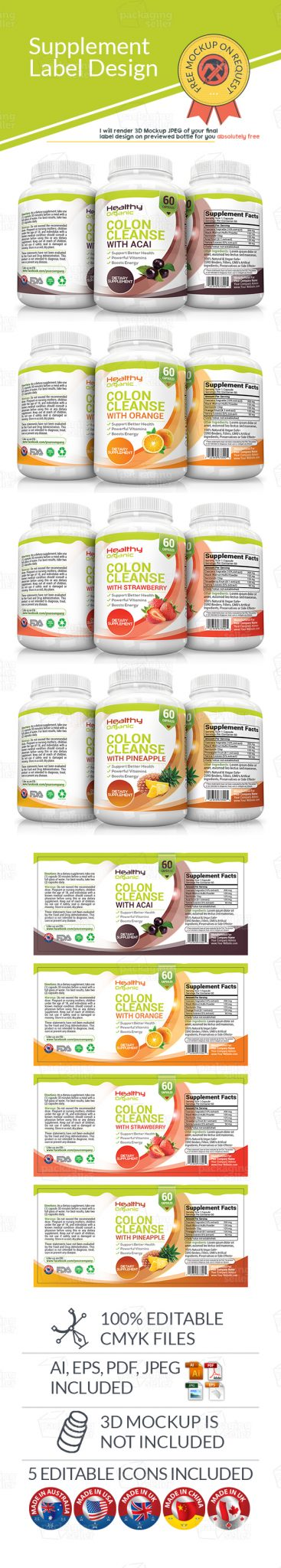 Dietary supplement label as 11 packaging seller for Supplement facts template