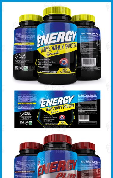Whey Protein Supplement Label Template Vol -144- Packaging